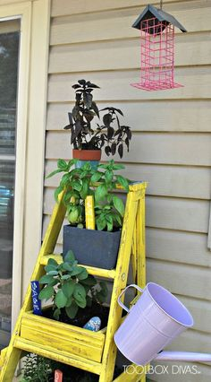 "Ladder Planter --The TUTORIAL - It all began on a sunny day while chatting with my neighbor. We were in her garage and I said to her "" why do you still have tha"