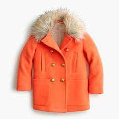 Featuring sturdy wool with a faux-fur collar, a cozy sherpa lining and hidden snaps for easy-on, easy-off wear, this coat earns major bus-stop cred. <ul><li>Hits at midthigh.</li><li>Wool/nylon.</li><li>Hidden snaps with button closure.</li><li>Patch pockets.</li><li>Lined.</li><li>Dry clean.</li><li>Import.</li></ul>