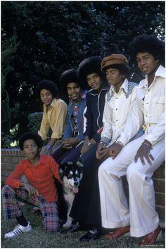 The Jackson Brothers - L- R Randy Jackson, Marlon Jackson, Tito Jackson, Jackie Jackson, Michael Jackson, and Jermaine Jackson.