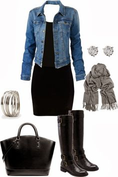 see more Black dress with jean jacket black boots and accessories combination in which earrings and bracelet