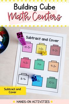 Need fun and engaging math centers for your kindergarten classroom? These 18 hands-on activities will reinforce fine motor and math skills all year. Easy to use and prep: just add snap cubes. Kindergarten Math Activities, Literacy Skills, Motor Activities, Hands On Activities, Kindergarten Classroom, Cubes Math, Build Math, Math Concepts, Childhood Education