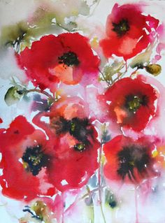 "Poppies en masse - Saatchi Online Artist Karin Johannesson; Painting, ""Poppies en masse"" #art"