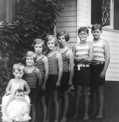 The Kennedy Children, 1928. (L-R) Jean, Bobby, Patricia, Eunice, Kathleen, Rosemary, Jack, Joe Jr. Hyannis Port, 1928. Photograph in the John F. Kennedy Presidential Library and Museum, Boston.