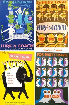 Vintage UK advertising posters for group bus travel by the superb Daphne Padden.