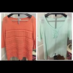 Loft & Old Navy XL top bundle Top bundle. The real is Old Navy and the Peach is Loft. LOFT Tops