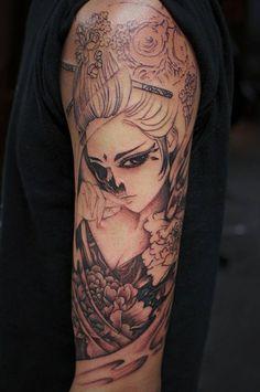 Chronic Ink Tattoo - Toronto Tattoo Skull geisha tattoo in progress, done by Karen.