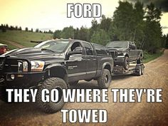 Ford jokes.. and its being towed by a Dodge