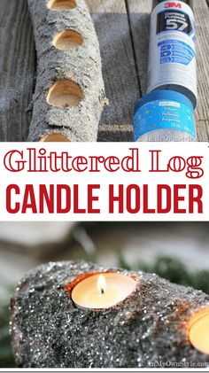 How to make a glittered log candle holder for your holiday table settings | In My Own Style