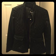 Genuine leather jacket Black leather, quilted leather, collar buckle, removable faux fur liner that provides extra warmth, two front pockets. Excellent condition! Warm jacket. Wore this once. Doesn't fit anymore. Jackets & Coats