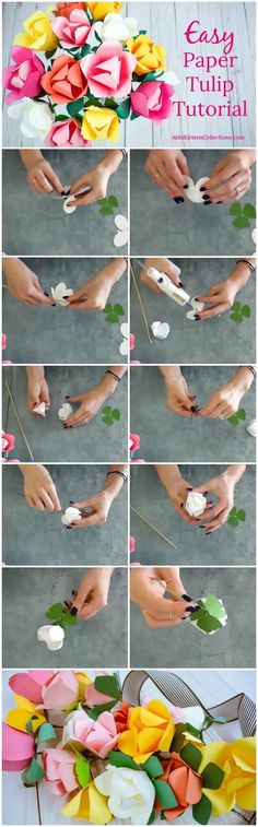 Easy paper tulip tutorial. How to make paper tulips. DIY tulips with templates.