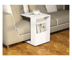 Tavolino con tasca portariviste Jour bianco, 58x45x14 cm