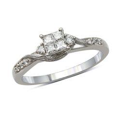 1/3 CT. T.W. Princess-Cut Quad Diamond Bridal Set in 10K White Gold - Zales