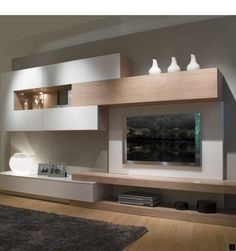 This living room furniture measures 360 cm long and 45 cm deep. - This living room furniture measures 360 cm long and 45 cm deep. We propose the combination of matt - Living Room Wall Units, Living Room Designs, Living Room Decor, Dining Room, Tv Furniture, Furniture Design, Cheap Furniture, Modern Tv Wall, Tv Wall Decor