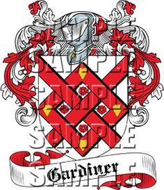 Gardiner Family Crest apparel, Gardiner Coat of Arms gifts