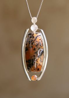 Sterling Silver and Petrified Wood Opal with Peach and by KMallaby, $185.00