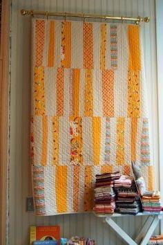 Flea Market Fancy quilt, free pattern from Denyse Schmidt -- Strips of sunshine! I love it!