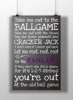 Texas Rangers Take Me Out to the Ballgame by BigLeaguePrints, $12.00