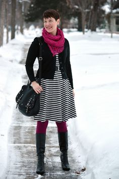 Already Pretty outfit featuring striped dress, black cardigan, magenta tights, Rebecca Minkoff Logan, Gudrun Sjödén scarf