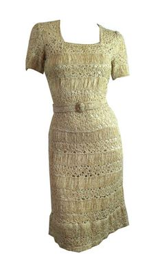 Exquisite Candlelight Silk Ribbon Knit Dress circa 1950s - Dorothea's Closet Vintage