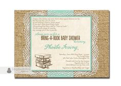 Lace Burlap Baby Shower Invitation. Would be cute using real burlap and seal the ends.