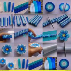 tutorial blue flower in fimo Polymer Clay Kunst, Polymer Clay Canes, Polymer Clay Flowers, Fimo Clay, Polymer Clay Projects, Polymer Clay Creations, Polymer Clay Jewelry, Clay Crafts, Fimo Tutorial
