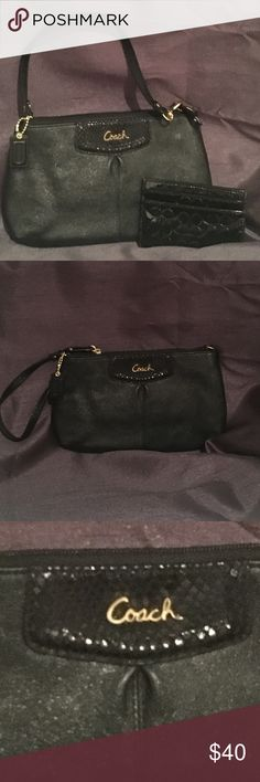 Coach Wristlet with Credit Card Holder Black with a little shimmer! This is a nice sized Coach wristlet with id slots inside and also comes with the additional mini wallet! Coach Bags Clutches & Wristlets