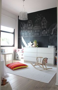 Love the simplicity of room darkening roller shade window treatments with blackboard walls to inspire children to be creative.