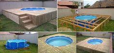 Ideas creativas - DIY por encima del suelo piscina con deck de paletas