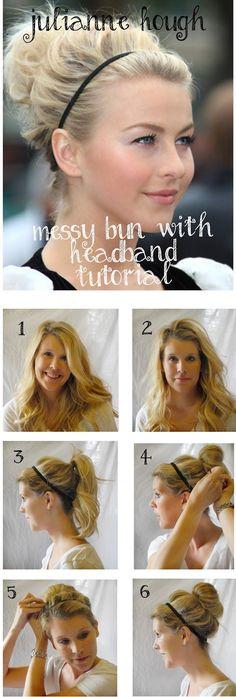 Julianne Hough Messy Bun with headband hair tutorial