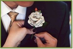 """paper boutonniere with music notes on it. every couple has """"their song""""- print out it's sheet music & make the boutonniere more special than EVER! Wedding Themes, Wedding Blog, Diy Wedding, Wedding Ideas, Wedding Music, Wedding Crafts, Green Wedding, Music Themed Weddings, Wedding Stuff"""