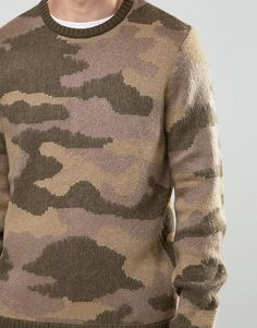 Shop ASOS Camo Jumper in Fluffy Yarn at ASOS. Jumper, Men Sweater, Knit Shirt, Fashion Online, Camo, Knitting, Sweaters, Shirts, Clothes