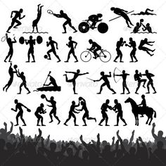 Summer Sport Silhouettes  #jump #london #male • Click here to download ! http://graphicriver.net/item/summer-sport-silhouettes/2460142?s_rank=450&ref=pxcr