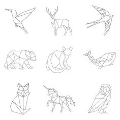 Set of linear illustrations of animals free vector Geometric Owl, Geometric Drawing, Geometric Shapes, Geometric Tattoo Bird, Owl Vector, Vector Graphics, Vector Free, Stylo 3d, Abstract Animals