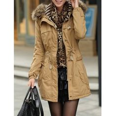 $69.47 Casual Long Sleeves Solid Color Drawstring Hooded Coat For Women