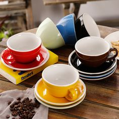 250ml ceramic coffee cup and saucer for World Latte Art Championship thick body big Garland area Mocha cup Latte Art