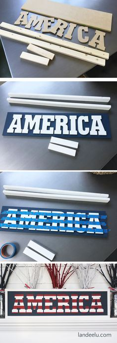 Independence Day America Sign Make this fun DIY Independence Day sign to add some do it yourself of July spirit into your home decor!Make this fun DIY Independence Day sign to add some do it yourself of July spirit into your home decor! Patriotic Crafts, July Crafts, Diy Home Crafts, Summer Crafts, Holiday Crafts, Crafts For The Home, Patriotic Party, Holiday Ideas, 4. Juli Party