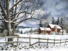 Stonebridge by Kathy Glasnap Stone Bridge watercolor art Winter Landscape, Landscape Art, Landscape Paintings, Christmas Scenes, Christmas Art, Winter Szenen, Farm Art, Winter Painting, Country Scenes