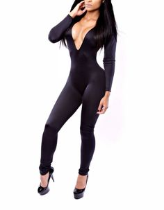 WOMEN'S OVERALLS JUMPSUIT RUMPER BODYSUIT CLUBWEAR MACACAO FEMININO STYLE DEEP V-NECK BLACK PENCIL LONG PANTS LADIES BANDAGE BODYCON DRESS Catsuit, Clubwear, Overalls Women, Women's Overalls, Shorts, Cute Jumpers, Pants For Women, Clothes For Women, Bodycon Fashion