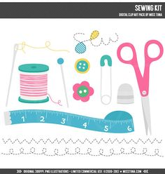 Sewing Kit Digital Clipart Clip Art Illustrations  by MissTiina, $5.00