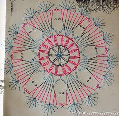 Crochet Symbols, Crochet Mandala Pattern, Crochet Motifs, Crochet Diagram, Doily Patterns, Crochet Chart, Crochet Doilies, Crochet Flowers, Crochet Stitches