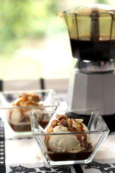 Affogato – Vanilla Ice Cream, Espresso and Caramel Sauce