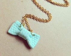 Polymer clay bow necklace