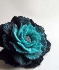 Felted Flower Brooch Hand Felted Jewelry Flower Pin by FeltFatal