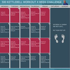 300 workout Build Strength, Burn Fat and have Fun with the 300 kettlebell workout challenge. Watch the tutorial videos of all the exercises and get started today! Crossfit Kettlebell, Kettlebell Challenge, Kettlebell Training, Kettlebell Swings, Workout Challenge, 300 Workout, Toning Workouts, Fun Workouts, At Home Workouts