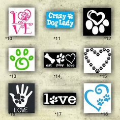 PAW PRINT vinyl decals - 19-27 - vinyl stickers - paw prints stickers - dog car decal - custom vinyl sticker - personalized decals