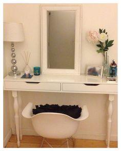 *UPDATE* Ikea Hack   Ekby Alex shelf + 4 Nipen table legs = my DIY desk/vanity/console