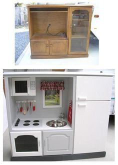 Transform this TV cabinet into a kitchen for my office.  Put Refrig in TV opening, Mircowave ontop, dishes/food in cabinets