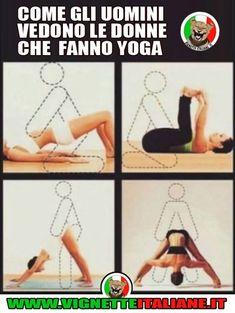 * Lo yoga hard Funny Me, Funny Pins, Hmm Meme, Italian Memes, Yoga Quotes, Vignettes, Slogan, Haha, Funny Pictures