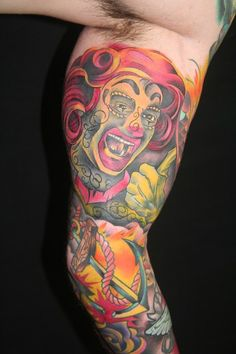 Ronald McDonald Art Tattooed by Brandon Notch... Traditional Tattooing...