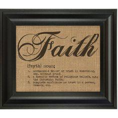 FAITH burlap wall art print decor by BurlapWallDecor on Etsy, $17.00 Burlap wall art print